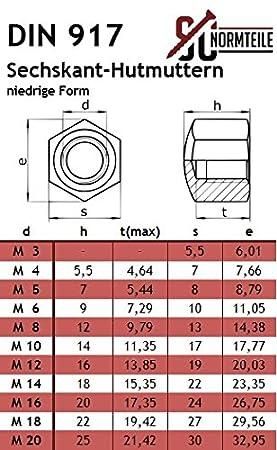 Edelstahl A2 Sechskant-Hutmuttern - SC917 50 St/ück - M4 - Hutmuttern V2A SC-Normteile niedrige Form - DIN 917