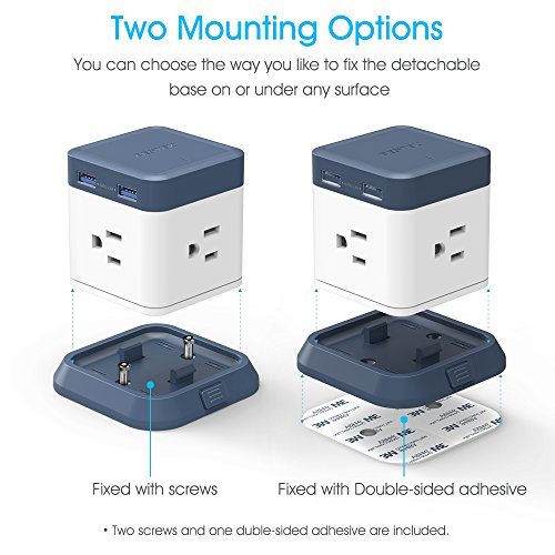 BESTEK USB Power Strip Travel Cube 3-Outlet and 4 USB Charging Station with Mountable Detachable Base, 5 Feet Extension Cord,Flat Plug,1875W,ETL Listed,Dorm Room Accessories by BESTEK (Image #6)