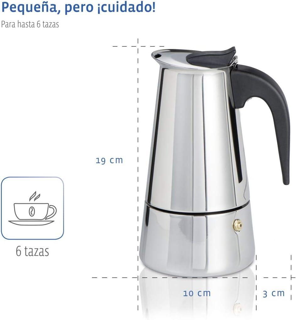 Xavax Cafetera espresso para 6 tazas de café aromático, cafetera para inducción, gas, cocina eléctrica o ...