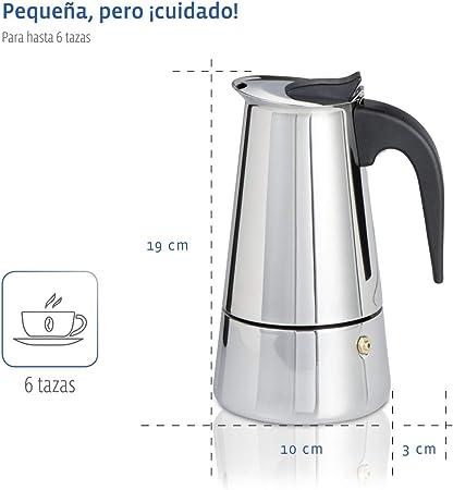 Xavax Cafetera espresso para 6 tazas de café aromático, cafetera para inducción, gas, cocina eléctrica o vitrocerámica, cafetera de acero inoxidable plateada: Amazon.es: Hogar