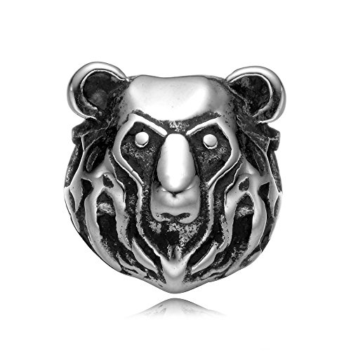 Polished Bear Pendant (REAMOR 5pcs 316l Stainless Steel Bear Head 2mm Small Hole Animal beads Charms for DIY Jewelry)