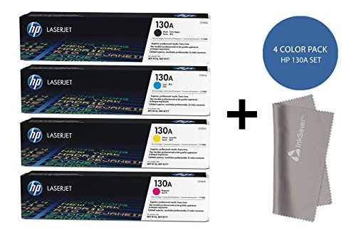 HP 130A BCYM Original LaserJet Toner Cartridge Set CF350A CF351A CF352A CF353A - For Hp Laserjet MFP M176n ,MFP M177fw Printers + InkSaver MicroFiber LCD Screen Cleaning Cloth by HP