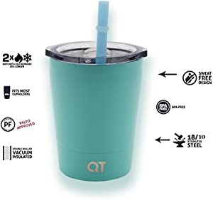 Kids Stainless Steel Tumbler Sippy Cup with Lid & Straw, 8.5oz by QT Kids Non Spill for Toddlers 2 Yrs and Up. Hot Chocolate Mug, Cold Water Bottle, Milk, Juice, Smoothies. Keeps Hot or Cold.(Teal)