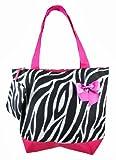 Black / White Zebra Print Nylon Tote Bag Fuchsia Trim, Bags Central