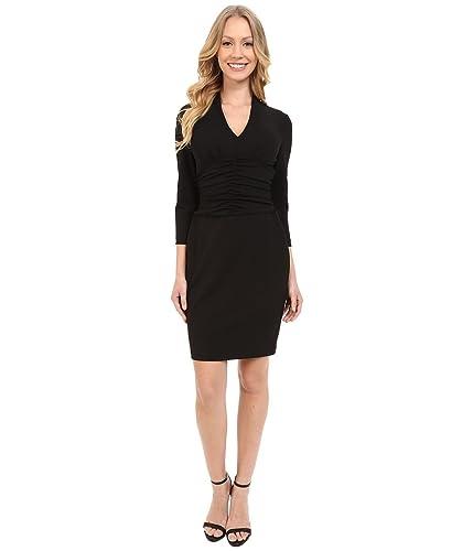 NYDJ Womens Ruched Side Stretch Crepe Dress