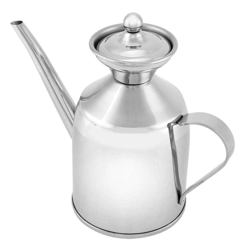 Wifehelper Stainless Steel Oil Bottle Portable Condiment Squeeze Bottles Oil Can Vinegar Soy Sauce Bottle Container for Kitchen Restaurant