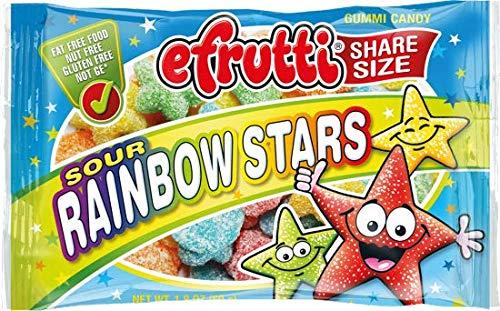 efrutti Share Size Sour Rainbow Stars Gummi Candy, 1.8 Ounce Bags - 12 Bags