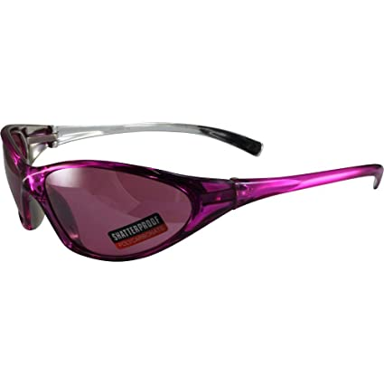 4c154eaab6 Amazon.com  Global Vision Lisa Motorcycle Sunglasses Pink Crystal Color  Frames with Matching Color Flash Mirror Lens  Sports   Outdoors