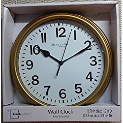 Sterling & Noble 8.75 Battery Operated Wall Clock - GOLD