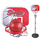 FLYZOE Adjustable Basketball Toy Kit Portable Basketball Hoop Stand with Anchor Kit Ball and Pump Kids