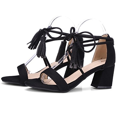 COOLCEPT Mujer Moda Cordones Sandalias Tacon Ancho Punta Abierta Zapatos Fleco Negro
