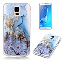 For Samsung Galaxy S5 / S5 Neo Marble Case with Screen Protector ,OYIME Creative Glossy Blue & Gold Marble Pattern Design Protective Bumper Soft Silicone Slim Thin Rubber Luxury Shockproof Cover