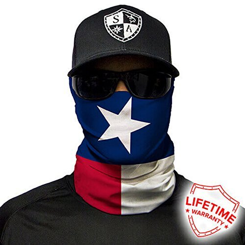 SA Company Face Shield Micro Fiber Protect from Wind, Dirt and Bugs. Worn as a Balaclava, Neck Gaiter & Head Band for Hunting, Fishing, Boating, Cycling, Paintball and Salt Lovers. - Texas Flag