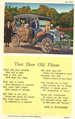That Dear Old Flivver - King A. Woodburn Poem Cars Original Vintage Postcard
