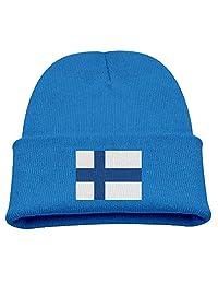 Flag of Finland Kid's Hats Winter Funny Soft Knit Beanie Cap Children Unisex