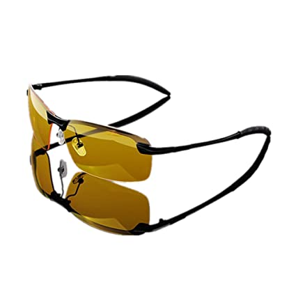 d212d76465 Wonzone Yellow Night Vision Polarized Goggles Sunglasses Unbreakable UV400  Protection Glasses Driving Fishing Golf Outdoor Sport