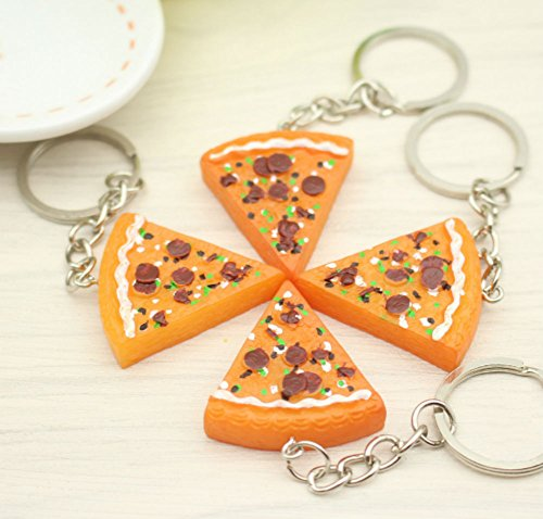 AKOAK 6 Pieces Pizza Pendant Key Chain Buckle Purse Bag Charm Key Jewelry Chic Accessories Ornaments