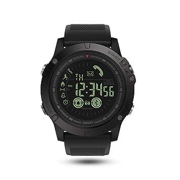 KOBWA - Reloj Inteligente Unisex Resistente e Impermeable con Bluetooth IP67 para iOS y Android, Negro: Amazon.es: Deportes y aire libre