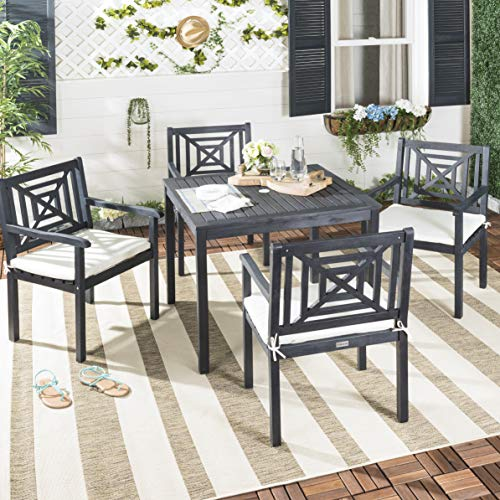 Safavieh PAT6722K Collection Del Mar Dark Slate Grey and Beige 5 Pc Outdoor Dining Set, Gray