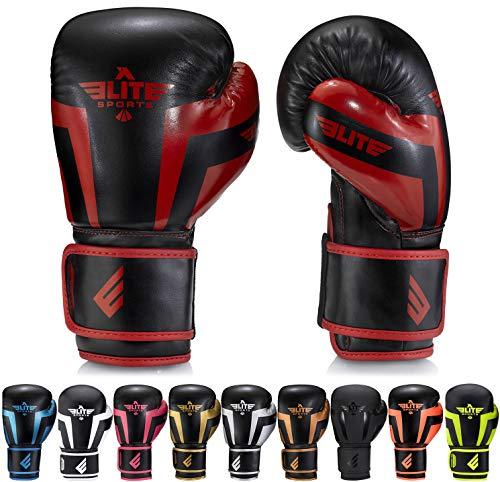 Elite Sports Boxing Gloves for Men, Women, and Kids, Kickboxing Punching Bag Pair of 2 Gloves (Red 6 Oz)
