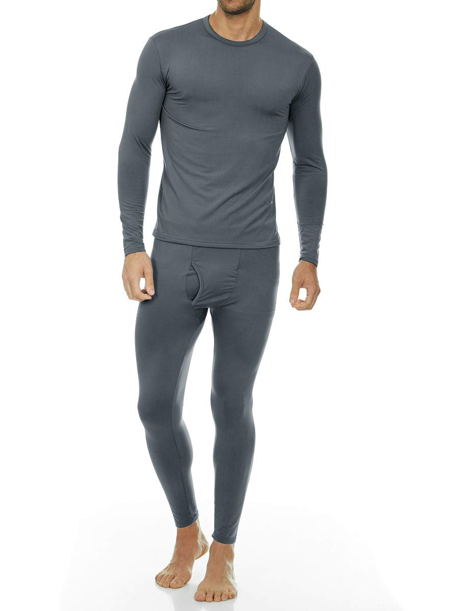 Thermajohn Men's Ultra Soft Thermal Underwear Long Johns Set with Fleece Lined (X-Small, Charcoal)