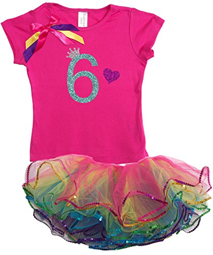 Bubblegum Divas Big Girls' 6th Birthday Rainbow Tutu Outfit 6X (Disco Themed Clothes)