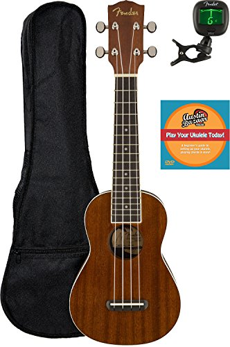 Fender Seaside Soprano Ukulele Bundle with Gig Bag, Tuner, and Austin Bazaar Instructional DVD