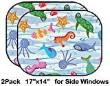 Liili Car Sun Shade for Side Rear Window Blocks UV Ray Sunlight Heat - Protect Baby and Pet - 2 Pack Image ID: 8088201 Colorful sea Animals