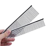 Sleel Dog Comb Greyhound STYLE 2 Pcs , Itery Pet Grooming Tools-deshedding Brush Stainless Steel Dog Comb ( Large + Small )