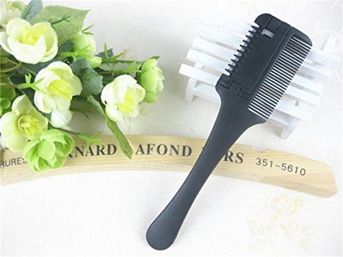 1 Set (2 Pcs/Set) Comb Hairbrush Hair Cut Professional Trimmer Cutting Slim Haircuts Blade Clipper Black Combo Pocket Long Round Handle Holder Essential Popular Beard Brush Natural Girl Travel Kit