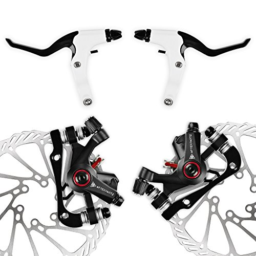 Bike Mechanical Disc Brake - AFTERPARTZ NV-5 G3/ HS1 Bike Disc Brake Kit Front + Rear Rotor (NV-5 G3 Black Kit with handle)