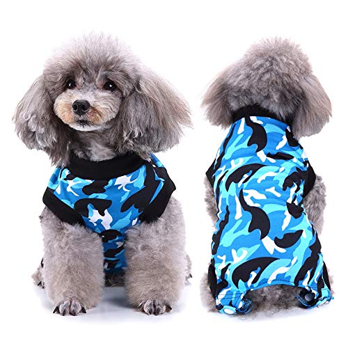 SELMAI Dog Recovery Shirt Pet Belly Guard Cat Onesie Wrap Vest for Pooch After Surgery Puppies Care E-Collar Alternative Clothing Fashion Camo Printing,Blue M