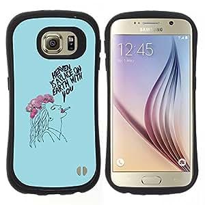 "Hypernova Slim Fit Dual Barniz Protector Caso Case Funda Para Samsung Galaxy S6 [Dibujo Señora Fumador floral azul""]"