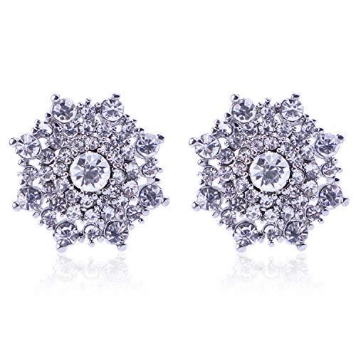 (Clip On Crystal Earrings for Women - PeriFairy Halo Snowflake Geometric Wedding Statement Non Pierced Earrings Silver Jewelry)