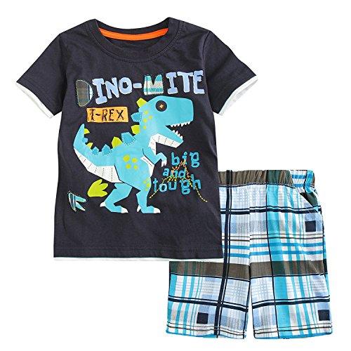 Sladatona Little Boys' Cotton Clothing Short Sets Summer Cotton Shirts Pants Toddler Clothes 5T