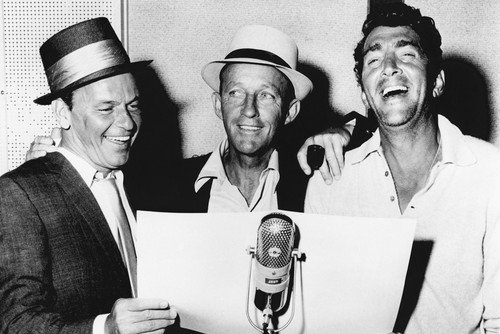 Frank Sinatra and Bing Crosby and Dean Martin in Frank Sinatra: A Man and His Music classic around microphone 24x36 Poster from Silverscreen