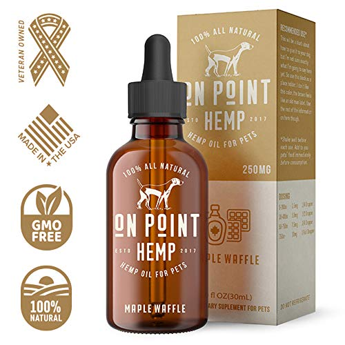On Point Hemp All Natural Maple Waffle Flavored Pet Hemp Oil for Pain and Anxiety Relief, 250 MG