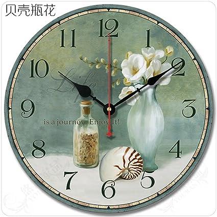 DIDADI Wall Clock Retro Salón Americano Continental Simple Idílico Decorado Clásicamente-Sonido Home Relojes de