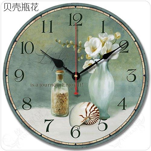 DIDADI Wall Clock Retro Salón Americano Continental Simple Idílico Decorado Clásicamente-Sonido Home Relojes de Pared, 14 Pulgadas, Conchas de Mar Flores de ...