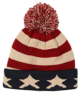 Funky Junque's USA Flag Pom Stars & Stripes Cuffed Knit Hat Beanie Skully Cap