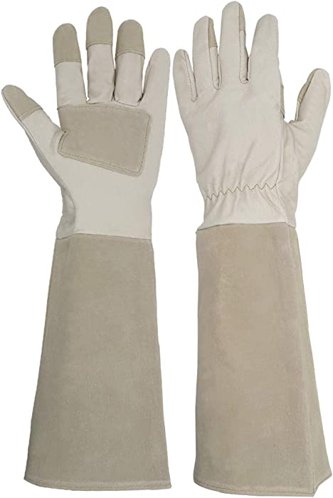 Long Sleeve Leather Gardening Gloves,Puncture resistant,Pigskin leather padded palm and reinforced fingertips, reinforced proRose Pruning Floral Gauntlet Garden Gloves For Women and Men (Large, Beige)