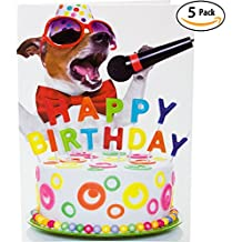 Beacon Streets Singing Dog Happy Birthday Cards, 5 Pack. This Pup Knows How to Get Down & Party! Premium Greeting Card & Envelopes Value Set. Great Funny Gift for Kids, Boys, Girls & Pet Lovers.