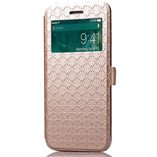 For iPhone 7 Plus Case, HP95(TM) Perspective Window Mobile Wallet Pocket Holder ShockProof Case For iphone 7 Plus 5.5inch (Gold) (Cs Spigen Plus 6 Iphone)