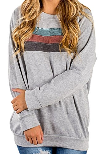 KAY SINN Womens Long Sleeve Casual Sweatshirt Color Block Tops X-Large Light Grey