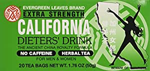 1 BOX CALIFORNIA DIETERS' DRINK EXTRA STRENGTH TEA 1.76 OZ