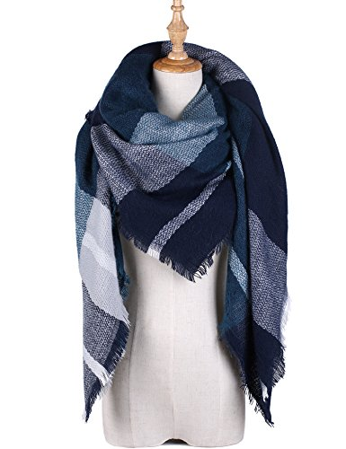 Stylish Blanket Shawl Scarf Winter Plaid Tartan Wrap Oversized Women Shawl Cape Green And White