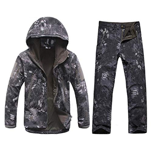 FieldShuFu Tactical Gear Softshell Camouflage Jacket Men Army Waterproof Warm Camo Clothes Windbreaker Fleece Coat Military Jacket Black Python XL