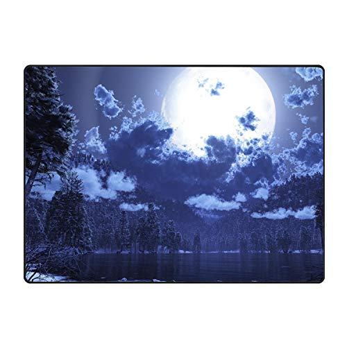 - Blair Louisa Personalized Funny Moon Night Darkness Light Clouds Lake Mats Entrance Mat Floor Rug Indoor/Bathroom Mats