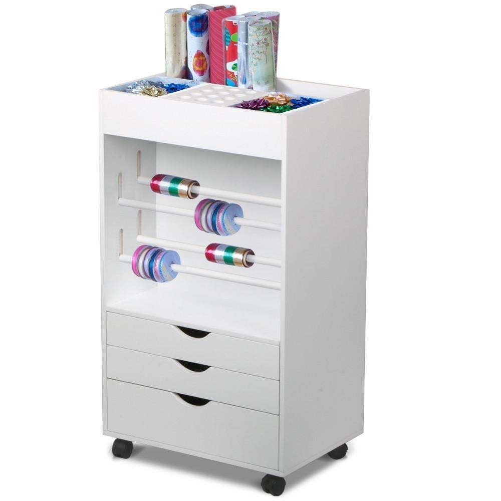 World Pride White Craft Storage Cart Rolling Organizer Drawer Wrapping Gift 20 x 14 x 35.4''