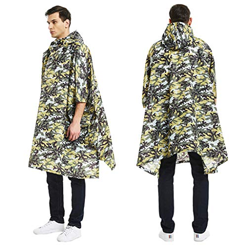 CapsA Waterproof Rain Poncho for Men Camouflage Belted Hooded Military Waterproof Mountaineering Raincoat Rainwear for Theme Park Hiking Camping or Traveling (B, One Size)
